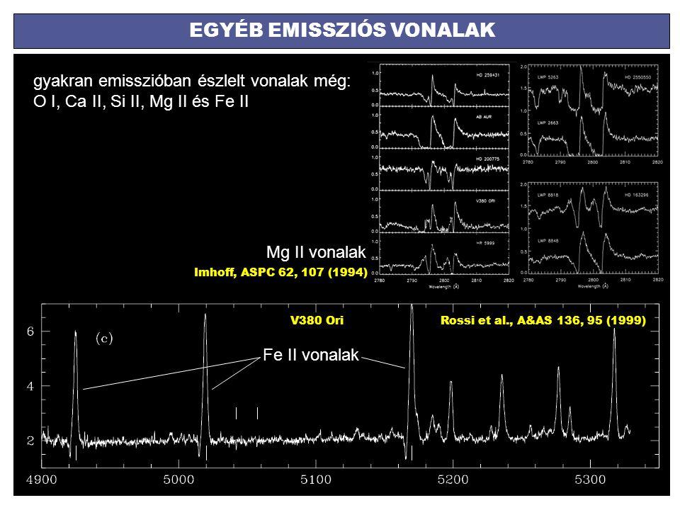 EGYÉB EMISSZIÓS VONALAK gyakran emisszióban észlelt vonalak még: O I, Ca II, Si II, Mg II és Fe II Rossi et al., A&AS 136, 95 (1999)V380 Ori Fe II von