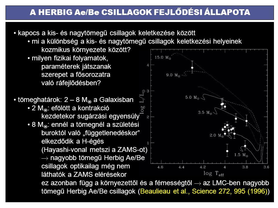 A HERBIG Ae/Be CSILLAGOK FEJLŐDÉSI ÁLLAPOTA kapocs a kis- és nagytömegű csillagok keletkezése között mi a különbség a kis- és nagytömegű csillagok kel