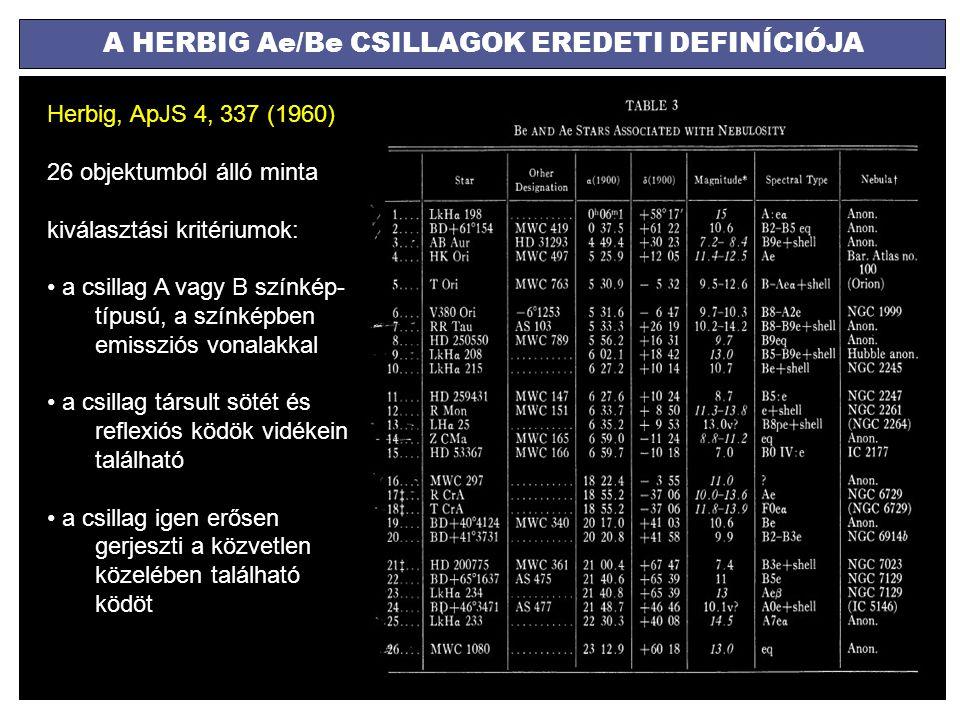 A HERBIG Ae/Be CSILLAGOK EREDETI DEFINÍCIÓJA Herbig, ApJS 4, 337 (1960) 26 objektumból álló minta kiválasztási kritériumok: a csillag A vagy B színkép