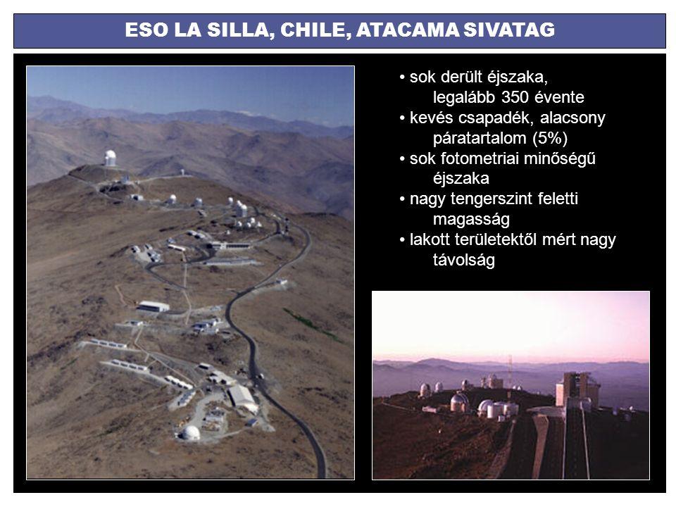 ESO LA SILLA, CHILE, ATACAMA SIVATAG sok derült éjszaka, legalább 350 évente kevés csapadék, alacsony páratartalom (5%) sok fotometriai minőségű éjsza