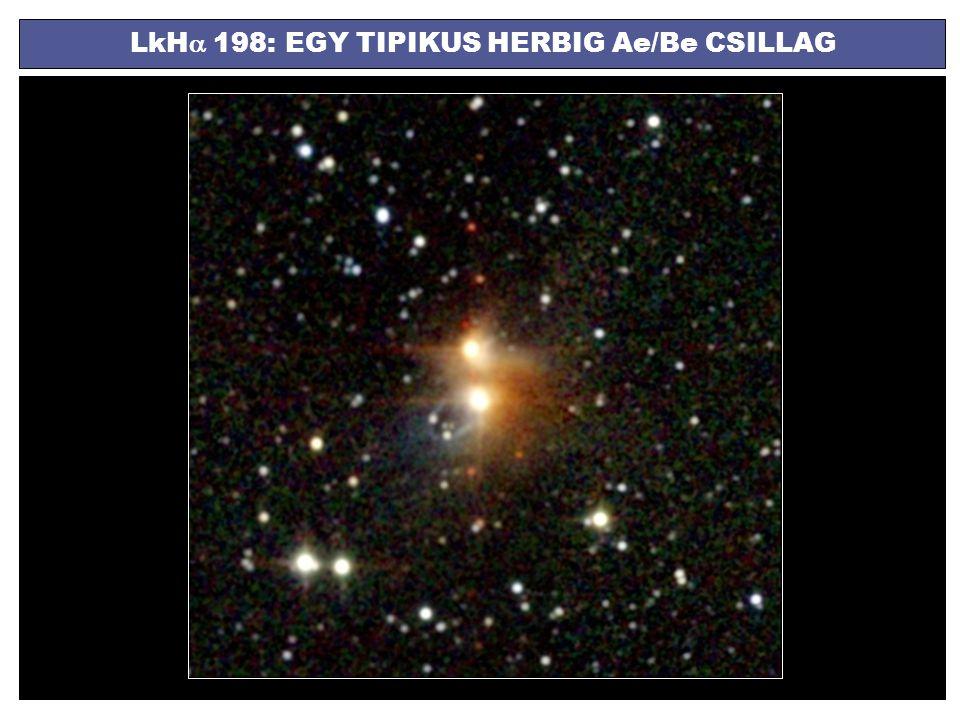 A H  EMISSZIÓS VONAL TÍPUSAI egycsúcsú emisszióduplacsúcsú emisszióP Cygni vonalprofil az emisszió lehetséges forrásai (nem teljesen tisztázott): a korongban kiáramló csillagszél (Hamann & Persson, ApJS 82, 285 (1992)) AB Aurigae: kromoszférikus csillagszél (Catala, A&A 319, 176 (1997))