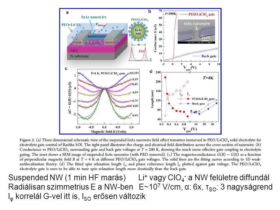 Suspended NW (1 min HF marás) Li + vagy ClO 4 - a NW felületre diffundál Radiálisan szimmetrius E a NW-ben E~10 7 V/cm, α: 6x, τ SO : 3 nagyságrend l