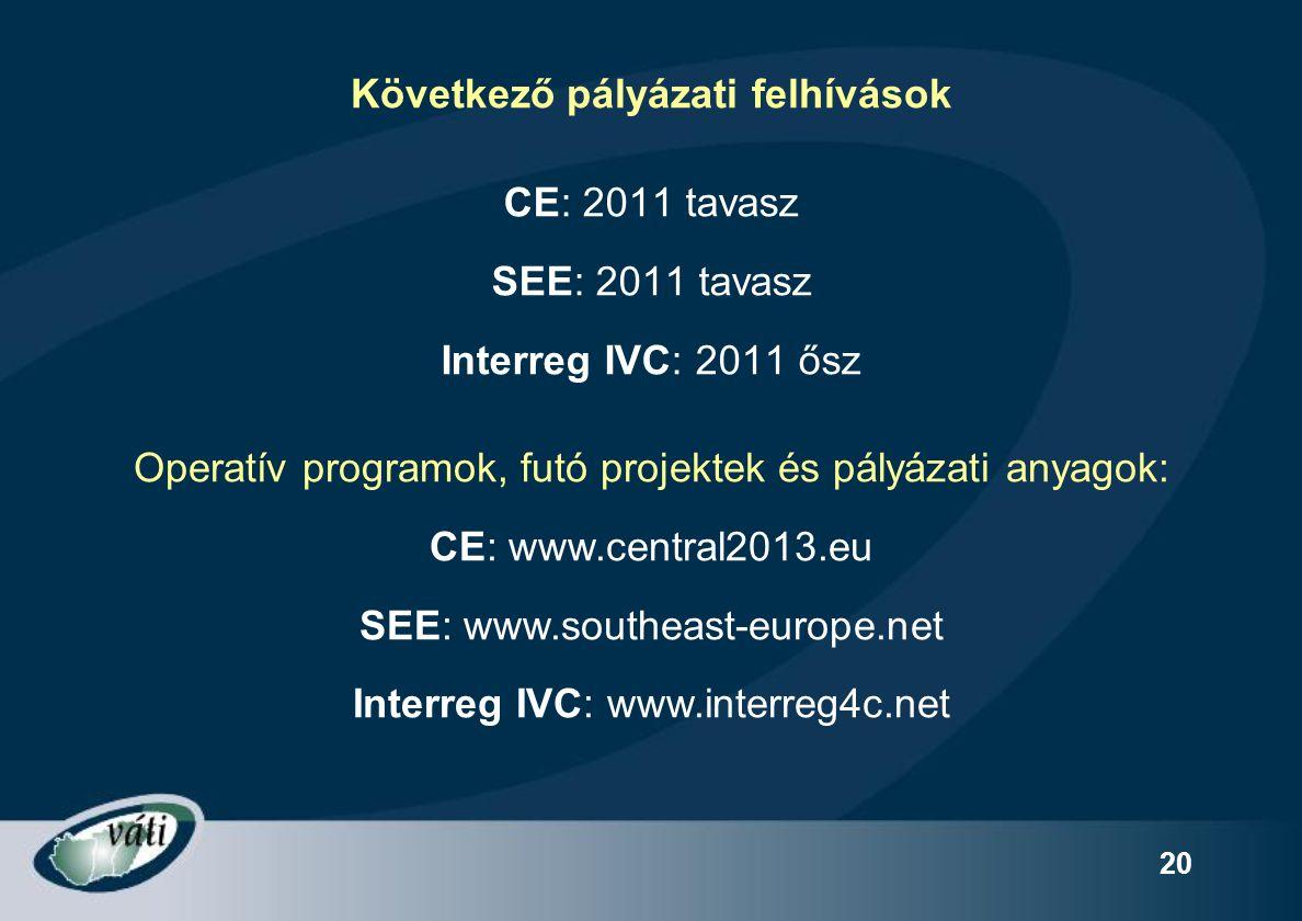 20 Következő pályázati felhívások CE: 2011 tavasz SEE: 2011 tavasz Interreg IVC: 2011 ősz Operatív programok, futó projektek és pályázati anyagok: CE: