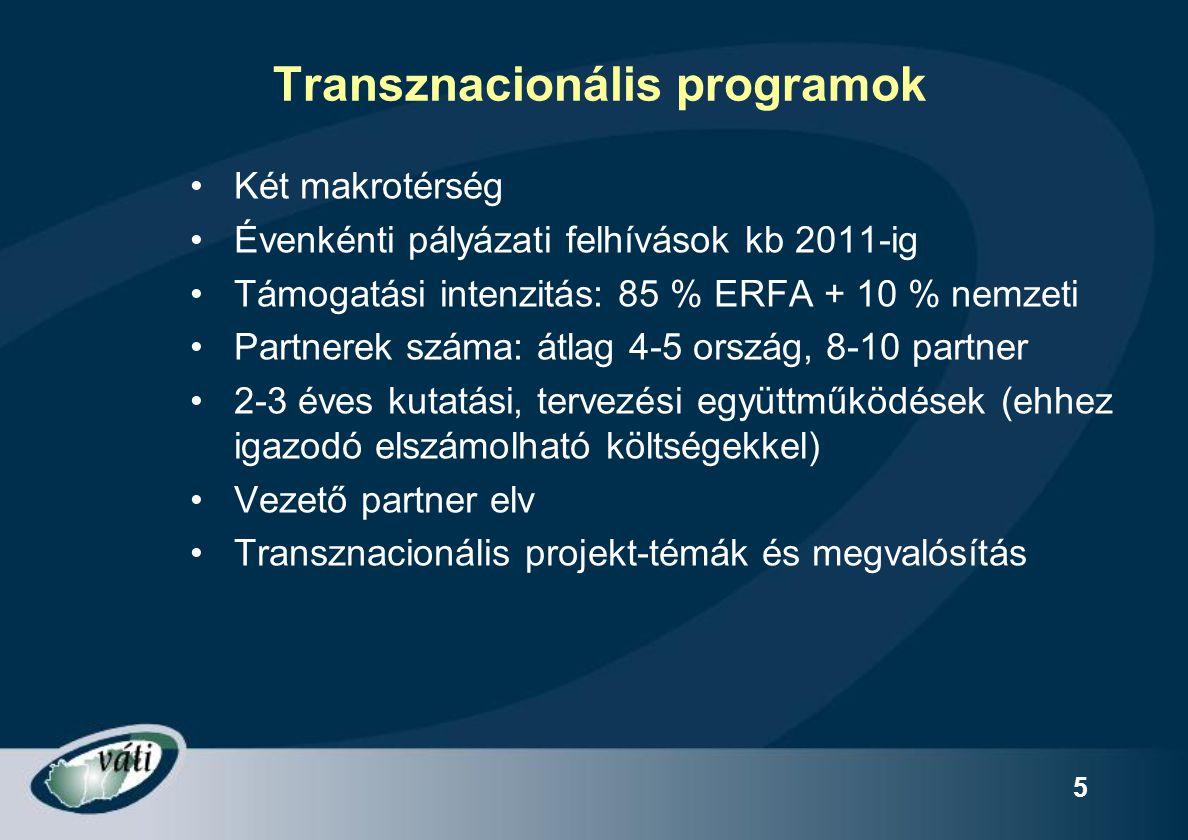 5 Transznacionális programok Két makrotérség Évenkénti pályázati felhívások kb 2011-ig Támogatási intenzitás: 85 % ERFA + 10 % nemzeti Partnerek száma