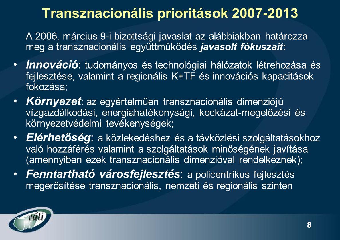 8 Transznacionális prioritások 2007-2013 A 2006. március 9-i bizottsági javaslat az alábbiakban határozza meg a transznacionális együttműködés javasol