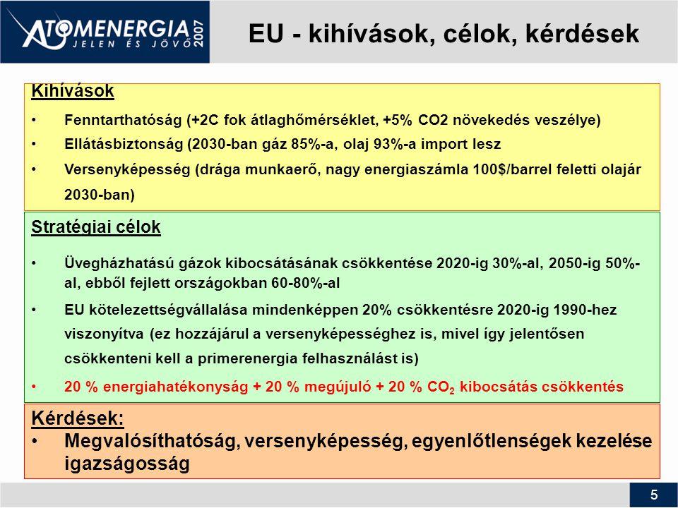 5 EU - kihívások, célok, kérdések Kihívások Fenntarthatóság (+2C fok átlaghőmérséklet, +5% CO2 növekedés veszélye) Ellátásbiztonság (2030-ban gáz 85%-a, olaj 93%-a import lesz Versenyképesség (drága munkaerő, nagy energiaszámla 100$/barrel feletti olajár 2030-ban) Stratégiai célok Üvegházhatású gázok kibocsátásának csökkentése 2020-ig 30%-al, 2050-ig 50%- al, ebből fejlett országokban 60-80%-al EU kötelezettségvállalása mindenképpen 20% csökkentésre 2020-ig 1990-hez viszonyítva (ez hozzájárul a versenyképességhez is, mivel így jelentősen csökkenteni kell a primerenergia felhasználást is) 20 % energiahatékonyság + 20 % megújuló + 20 % CO 2 kibocsátás csökkentés Kérdések: Megvalósíthatóság, versenyképesség, egyenlőtlenségek kezelése igazságosság