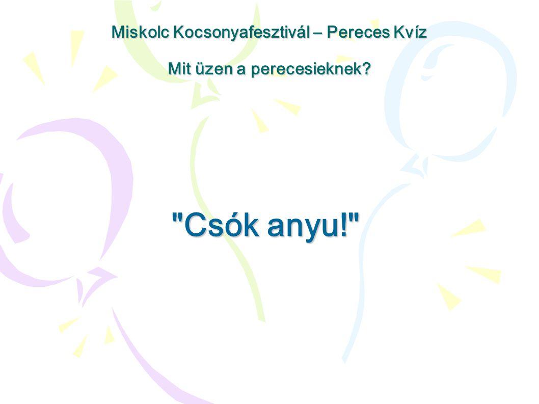 Csók anyu! Miskolc Kocsonyafesztivál – Pereces Kvíz Mit üzen a perecesieknek?