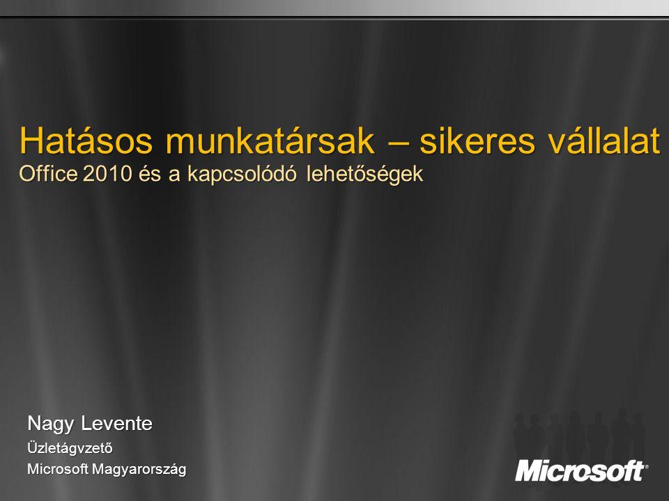 Hatásos munkatársak – sikeres vállalat Office 2010 és a kapcsolódó lehetőségek Nagy Levente Üzletágvzető Microsoft Magyarország