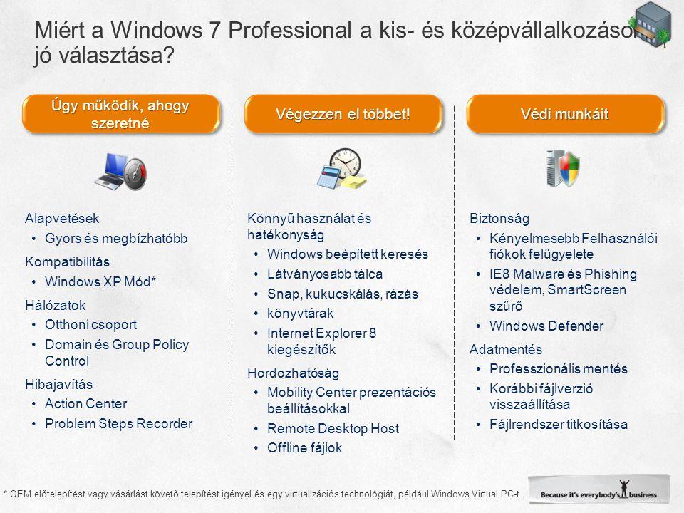 Úgy működik, ahogy szeretné * OEM előtelepítést vagy vásárlást követő telepítést igényel és egy virtualizációs technológiát, például Windows Virtual PC-t.