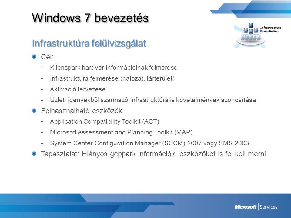 Windows 7 bevezetés Infrastruktúra felülvizsgálat Cél: -Klienspark hardver információinak felmérése -Infrastruktúra felmérése (hálózat, tárterület) -A