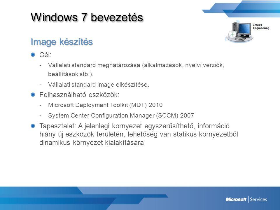 Windows 7 bevezetés Image készítés Cél: -Vállalati standard meghatározása (alkalmazások, nyelvi verziók, beállítások stb.). -Vállalati standard image