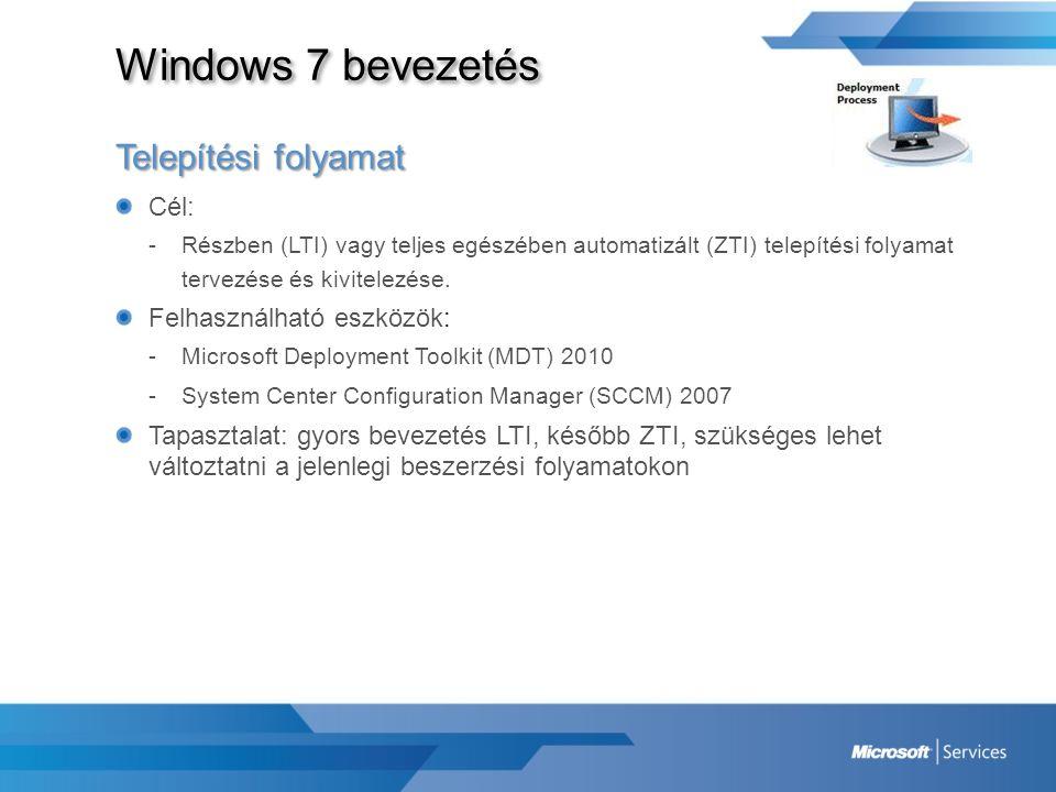 Windows 7 bevezetés Telepítési folyamat Cél: -Részben (LTI) vagy teljes egészében automatizált (ZTI) telepítési folyamat tervezése és kivitelezése. Fe