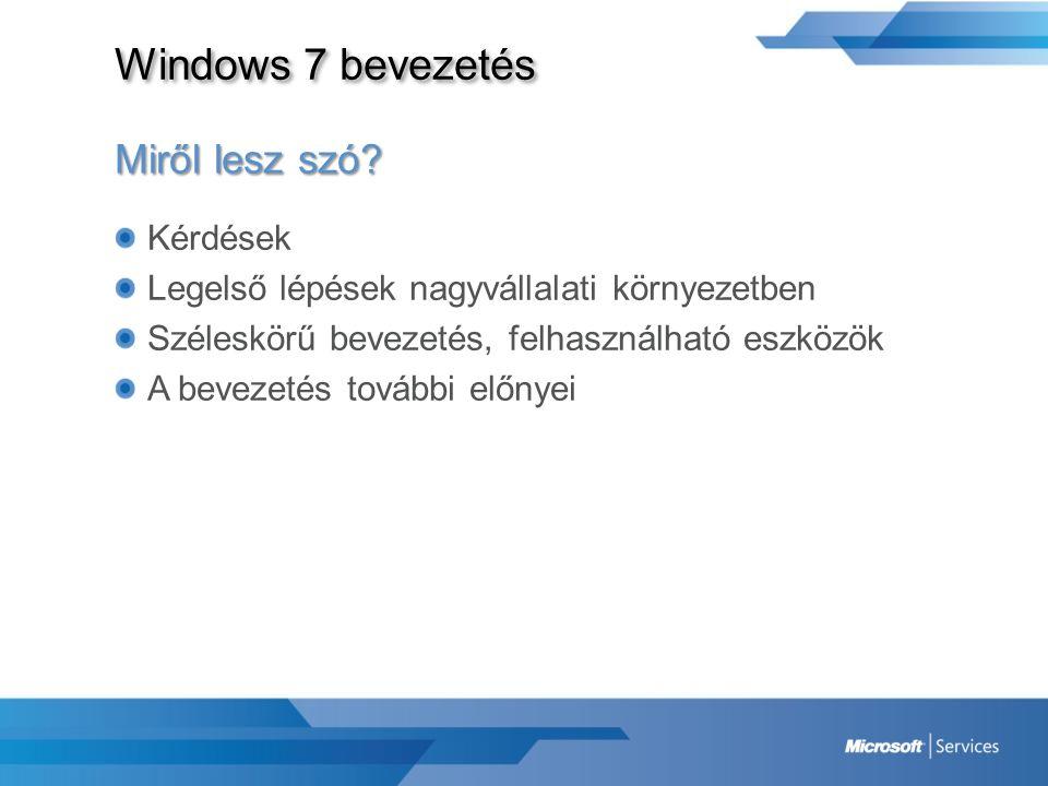 Windows 7 bevezetés Microsoft Deployment Toolkit 2010 Keretrendszer -Operációs rendszer -Alkalmazások -Driverek -Frissítések -Többi eszköz transzparens felhasználása (USMT, WAIK, WIM stb.) Dokumentáció Módszertan, metodológia Telepítést végrehajtó szkriptek – Részben automatizált telepítések végrehajtása (LTI)