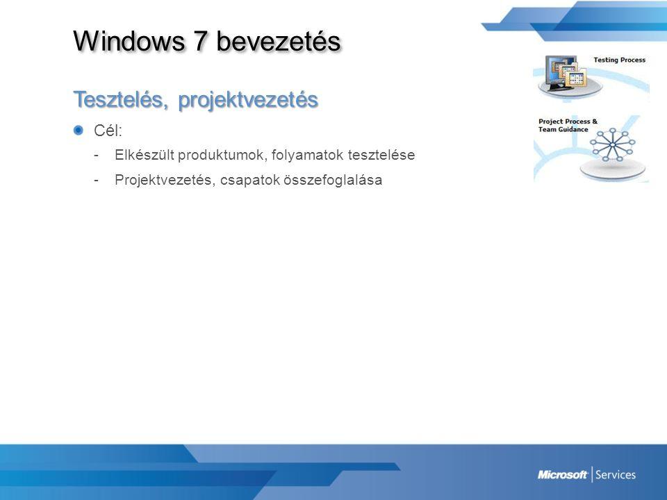 Windows 7 bevezetés Tesztelés, projektvezetés Cél: -Elkészült produktumok, folyamatok tesztelése -Projektvezetés, csapatok összefoglalása