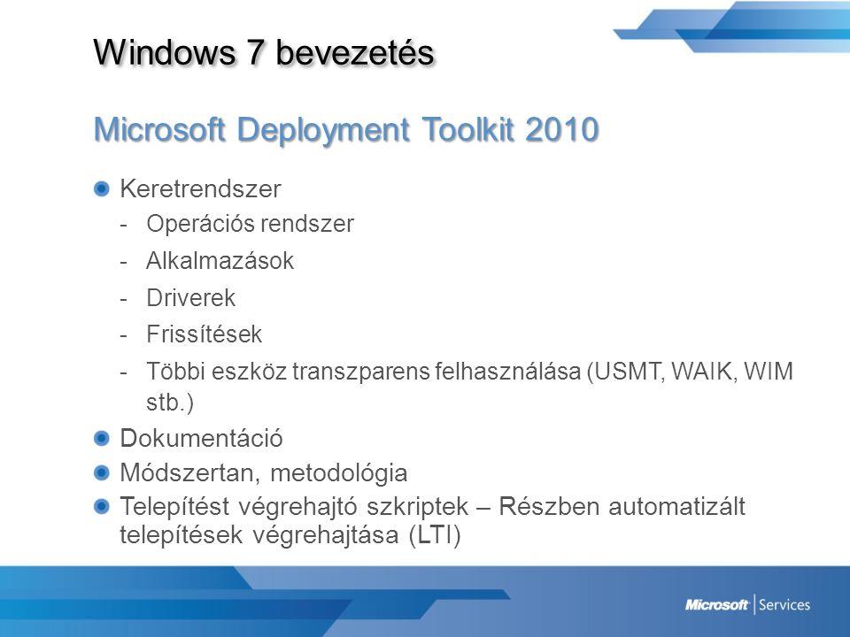 Windows 7 bevezetés Microsoft Deployment Toolkit 2010 Keretrendszer -Operációs rendszer -Alkalmazások -Driverek -Frissítések -Többi eszköz transzparen