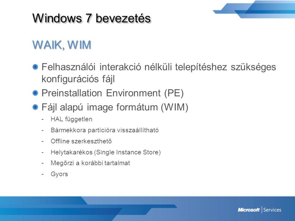 Windows 7 bevezetés WAIK, WIM Felhasználói interakció nélküli telepítéshez szükséges konfigurációs fájl Preinstallation Environment (PE) Fájl alapú im