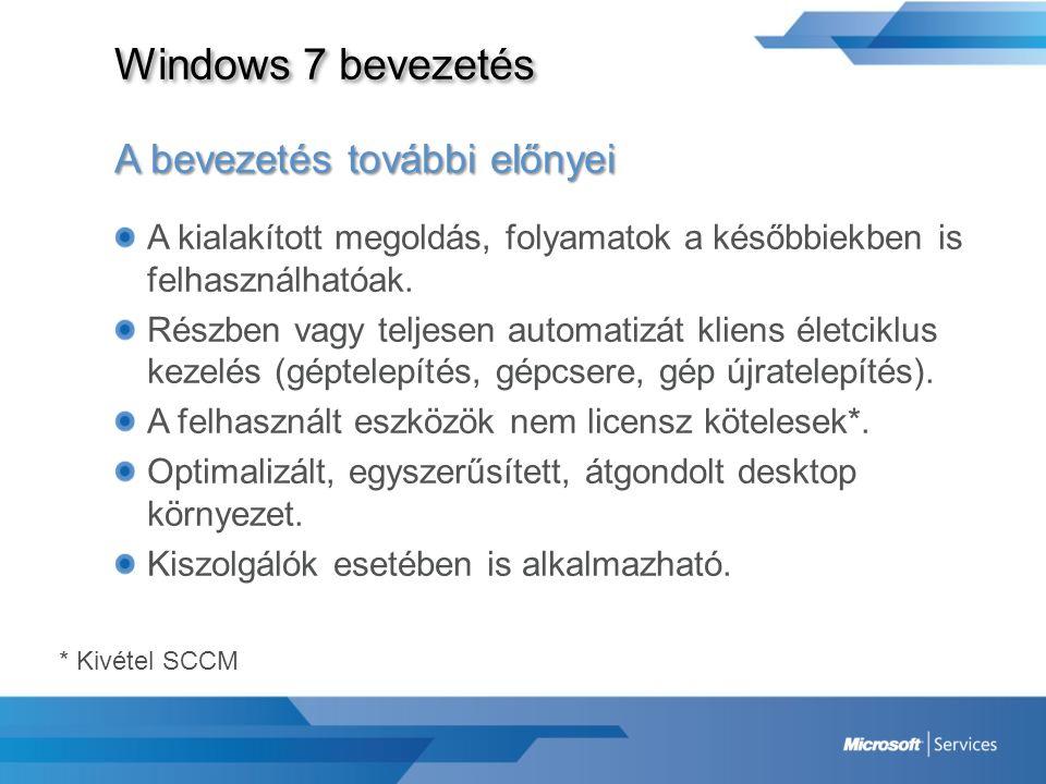 Windows 7 bevezetés A bevezetés további előnyei A kialakított megoldás, folyamatok a későbbiekben is felhasználhatóak. Részben vagy teljesen automatiz