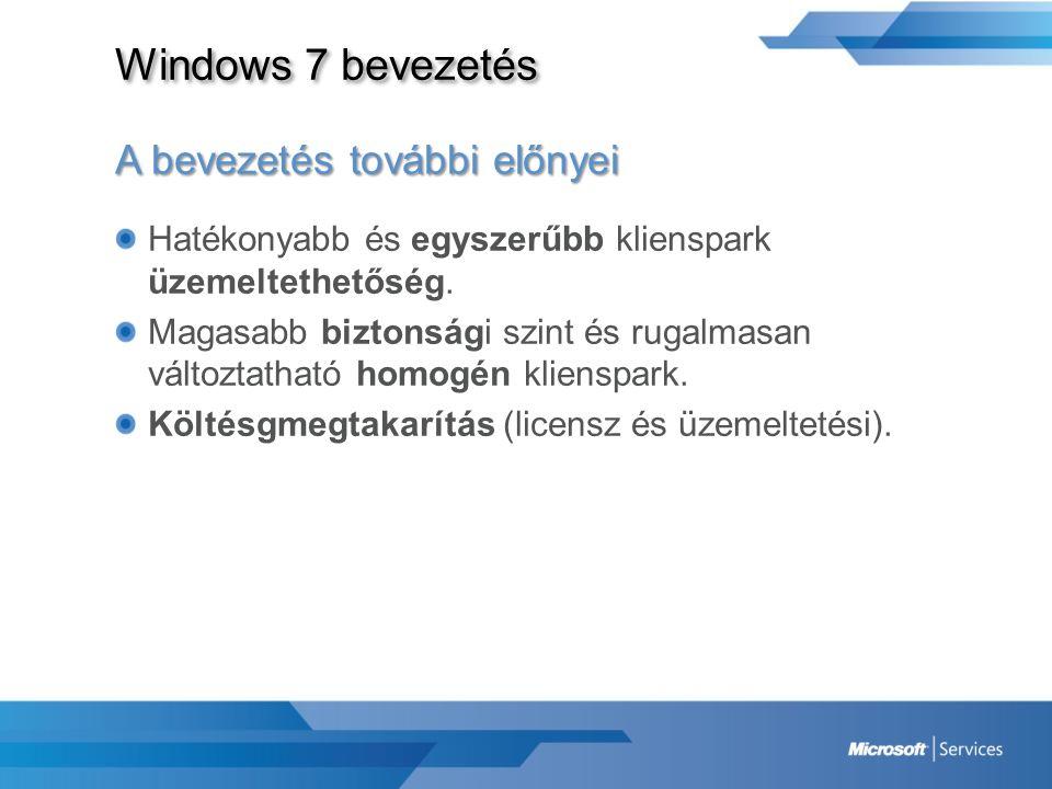 Windows 7 bevezetés A bevezetés további előnyei Hatékonyabb és egyszerűbb klienspark üzemeltethetőség. Magasabb biztonsági szint és rugalmasan változt