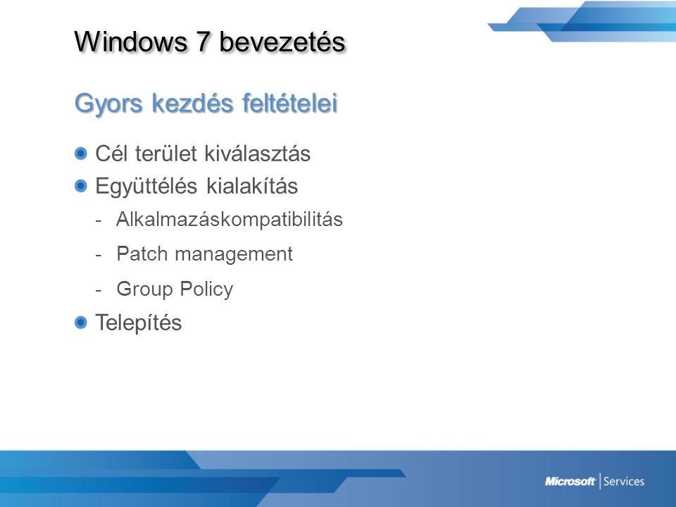 Windows 7 bevezetés Gyors kezdés feltételei Cél terület kiválasztás Együttélés kialakítás -Alkalmazáskompatibilitás -Patch management -Group Policy Te
