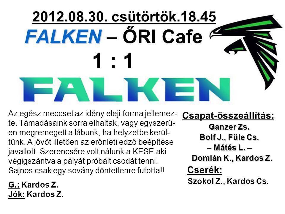 FALKEN 2012.08.30. csütörtök.18.45 FALKEN – ŐRI Cafe 1 : 1 Csapat-összeállítás: Ganzer Zs.