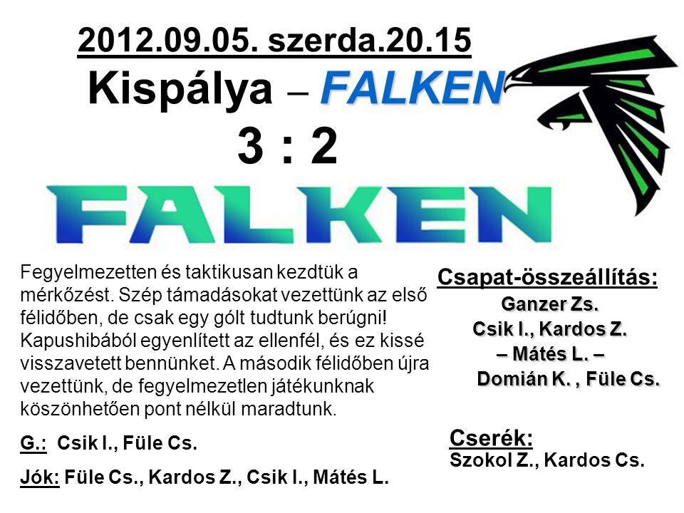FALKEN 2012.09.05. szerda.20.15 Kispálya – FALKEN 3 : 2 Csapat-összeállítás: Ganzer Zs. Csik I., Kardos Z. – Mátés L. – Domián K., Füle Cs. Domián K.,