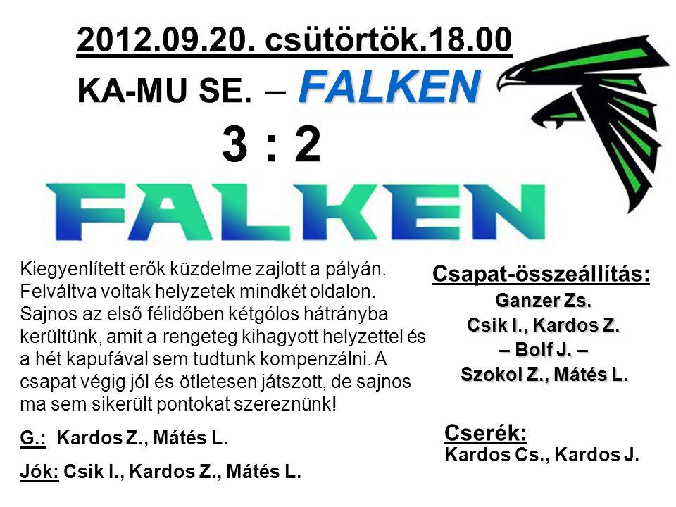 FALKEN 2012.09.20. csütörtök.18.00 KA-MU SE. – FALKEN 3 : 2 Csapat-összeállítás: Ganzer Zs.
