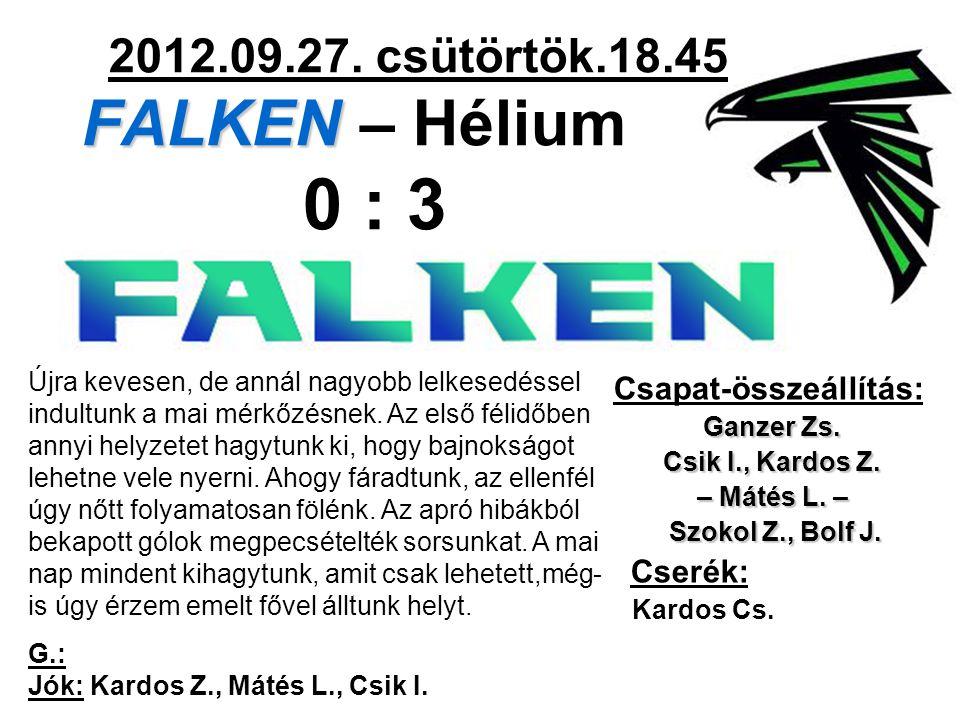 FALKEN 2012.09.27. csütörtök.18.45 FALKEN – Hélium 0 : 3 Csapat-összeállítás: Ganzer Zs. Csik I., Kardos Z. – Mátés L. – Szokol Z., Bolf J. Szokol Z.,