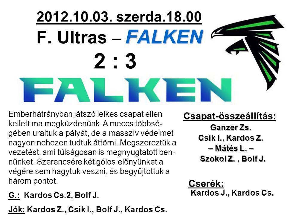 FALKEN 2012.10.03. szerda.18.00 F. Ultras – FALKEN 2 : 3 Csapat-összeállítás: Ganzer Zs. Csik I., Kardos Z. – Mátés L. – Szokol Z., Bolf J. Szokol Z.,