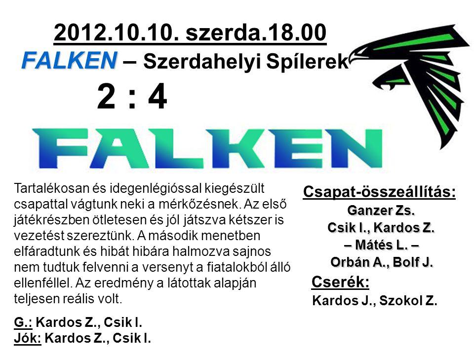 FALKEN 2012.10.10. szerda.18.00 FALKEN – Szerdahelyi Spílerek 2 : 4 Csapat-összeállítás: Ganzer Zs. Csik I., Kardos Z. – Mátés L. – Orbán A., Bolf J.