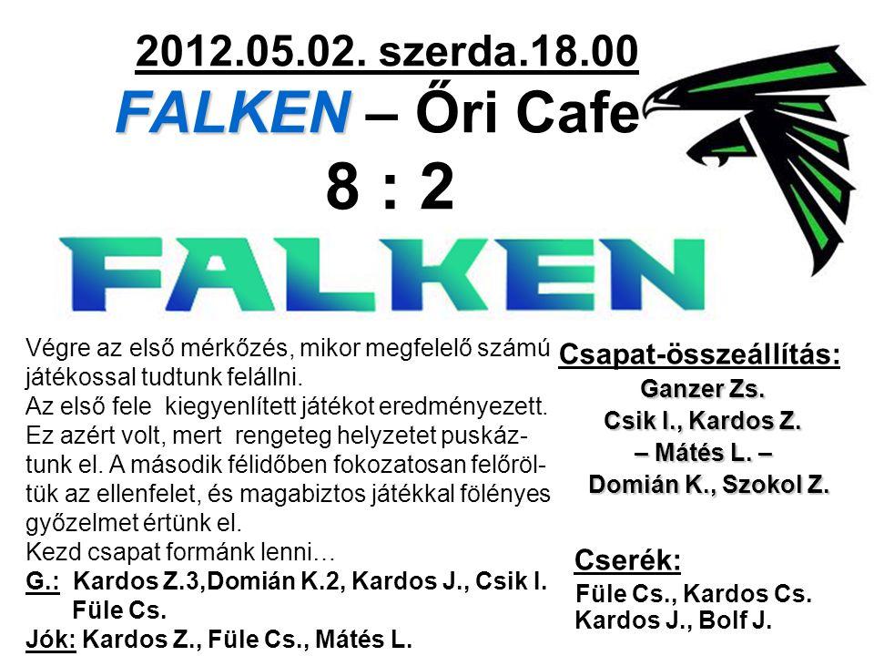 FALKEN 2012.05.02. szerda.18.00 FALKEN – Őri Cafe 8 : 2 Csapat-összeállítás: Ganzer Zs. Csik I., Kardos Z. – Mátés L. – Domián K., Szokol Z. Domián K.