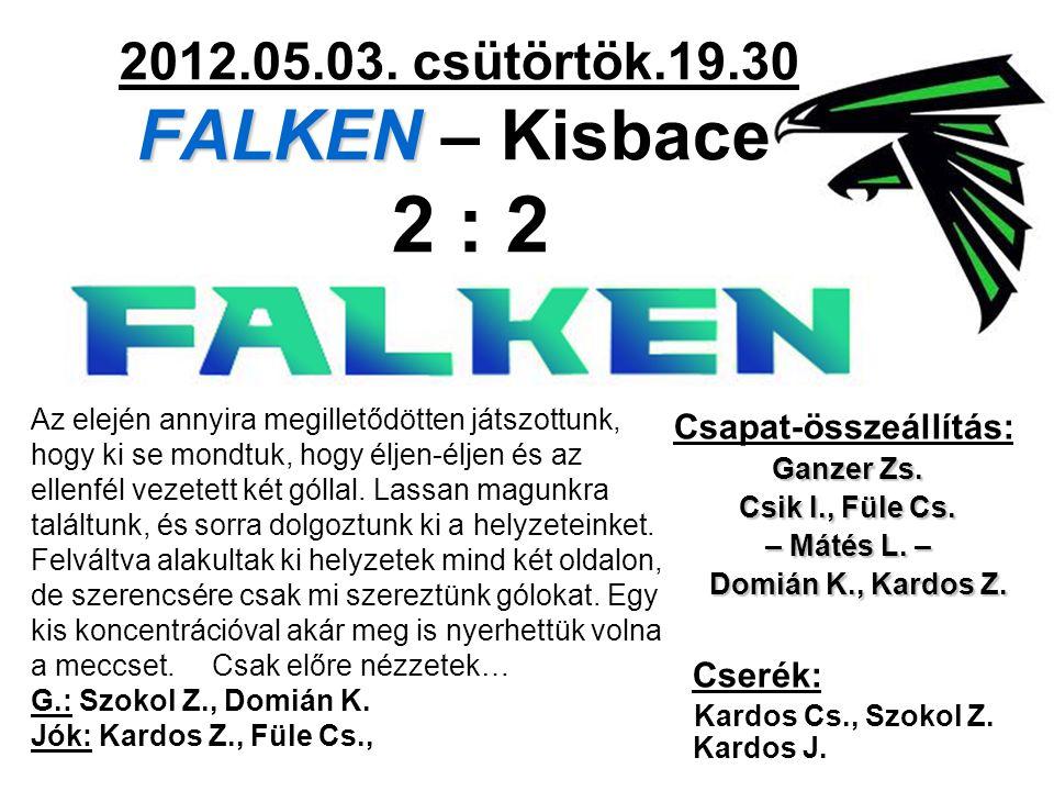 FALKEN 2012.05.03. csütörtök.19.30 FALKEN – Kisbace 2 : 2 Csapat-összeállítás: Ganzer Zs. Csik I., Füle Cs. – Mátés L. – Domián K., Kardos Z. Domián K