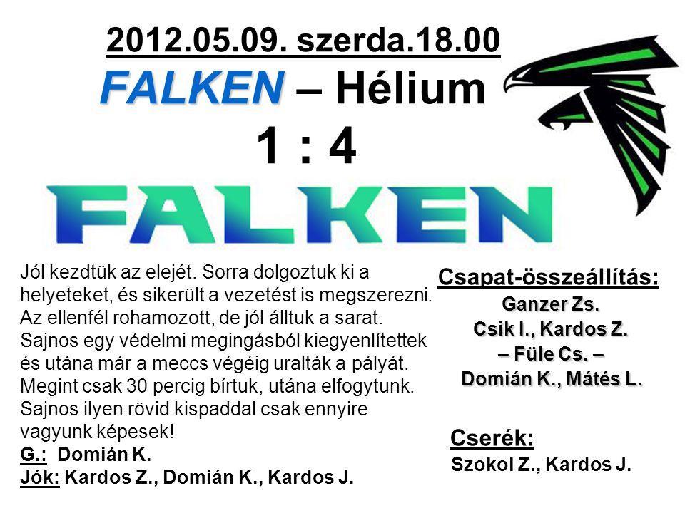 FALKEN 2012.05.09. szerda.18.00 FALKEN – Hélium 1 : 4 Csapat-összeállítás: Ganzer Zs. Csik I., Kardos Z. – Füle Cs. – Domián K., Mátés L. Domián K., M