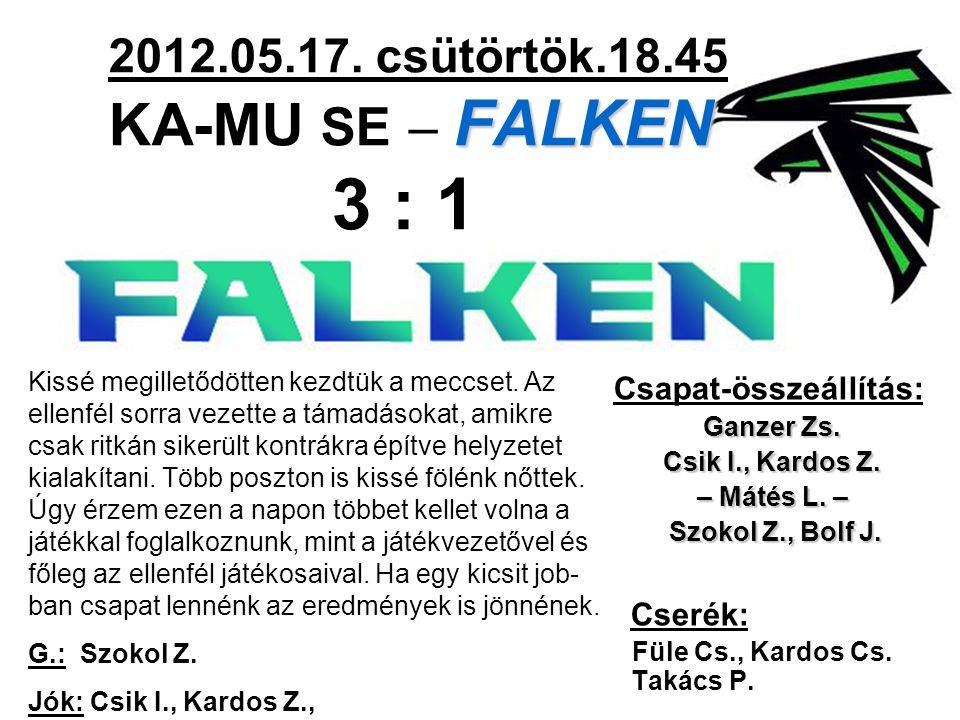 FALKEN 2012.05.17. csütörtök.18.45 KA-MU SE – FALKEN 3 : 1 Csapat-összeállítás: Ganzer Zs. Csik I., Kardos Z. – Mátés L. – Szokol Z., Bolf J. Szokol Z