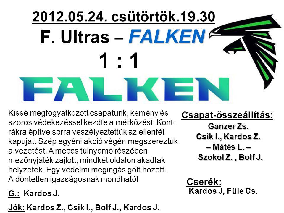 FALKEN 2012.05.24. csütörtök.19.30 F. Ultras – FALKEN 1 : 1 Csapat-összeállítás: Ganzer Zs. Csik I., Kardos Z. – Mátés L. – Szokol Z., Bolf J. Szokol