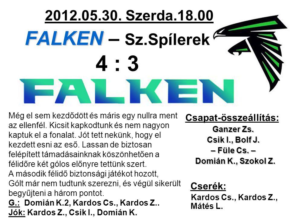 FALKEN 2012.05.30. Szerda.18.00 FALKEN – Sz.Spílerek 4 : 3 Csapat-összeállítás: Ganzer Zs.