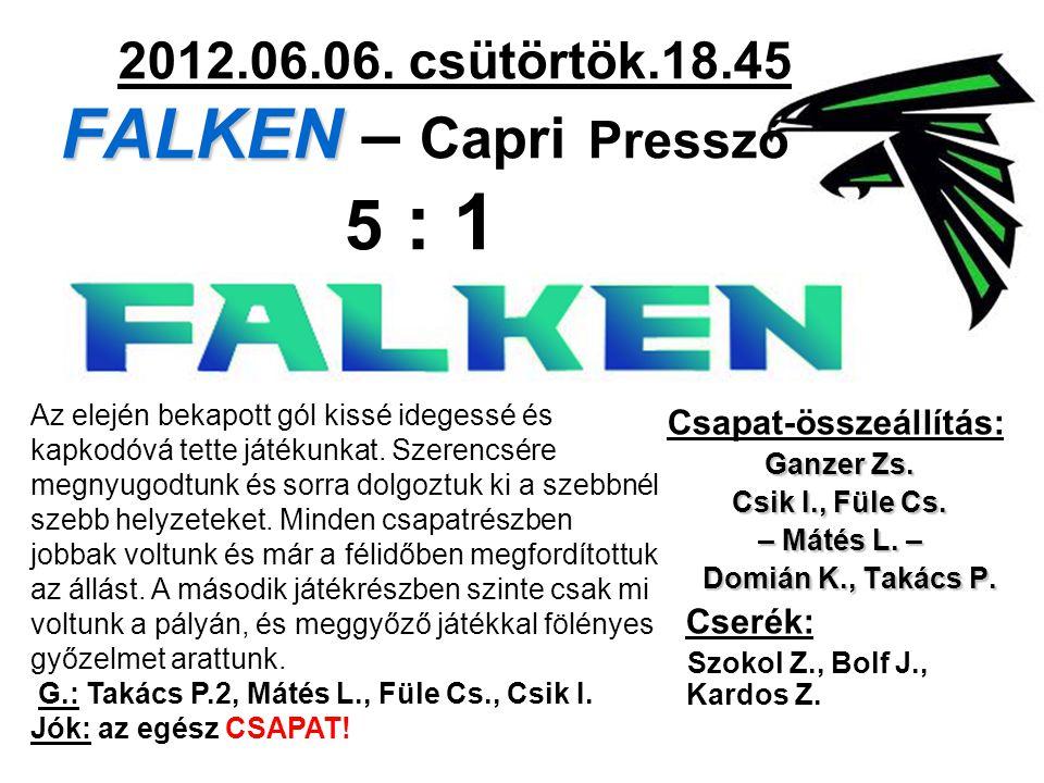 FALKEN 2012.06.06. csütörtök.18.45 FALKEN – Capri Presszó 5 : 1 Csapat-összeállítás: Ganzer Zs.
