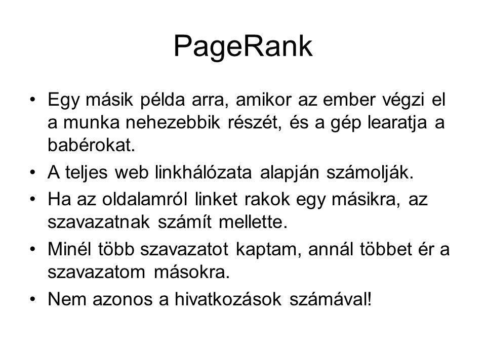 PageRank Egy másik példa arra, amikor az ember végzi el a munka nehezebbik részét, és a gép learatja a babérokat.