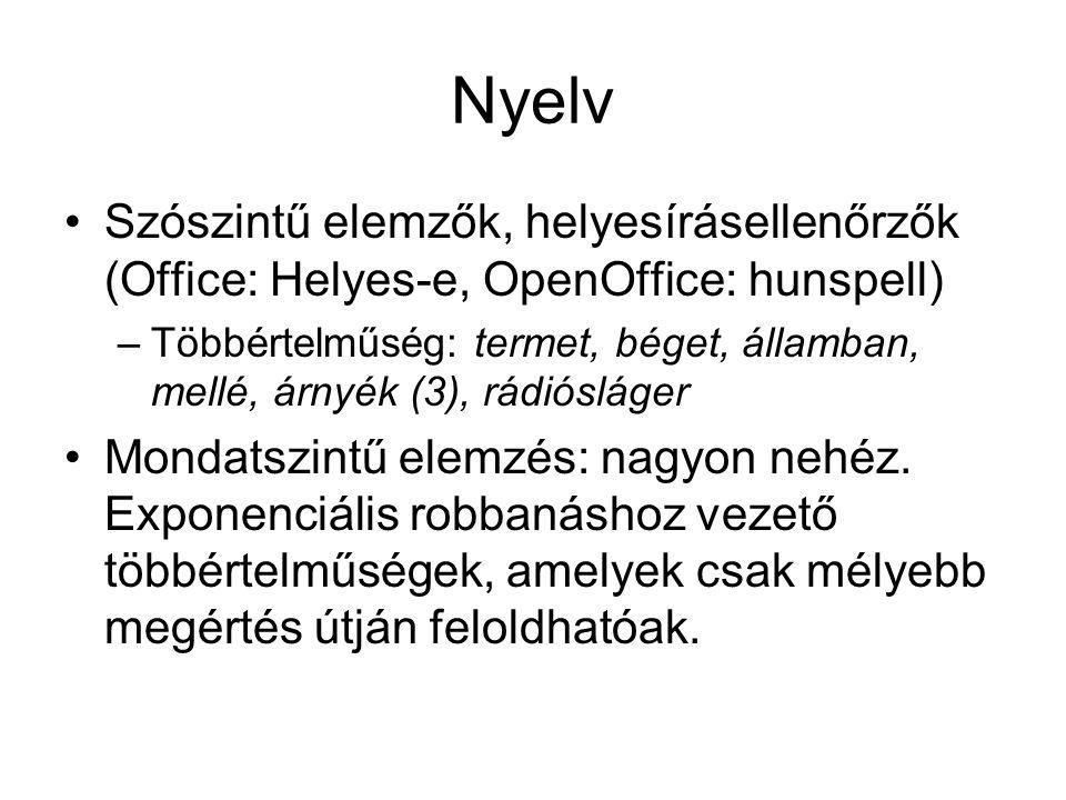 Nyelv Szószintű elemzők, helyesírásellenőrzők (Office: Helyes-e, OpenOffice: hunspell) –Többértelműség: termet, béget, államban, mellé, árnyék (3), rádiósláger Mondatszintű elemzés: nagyon nehéz.