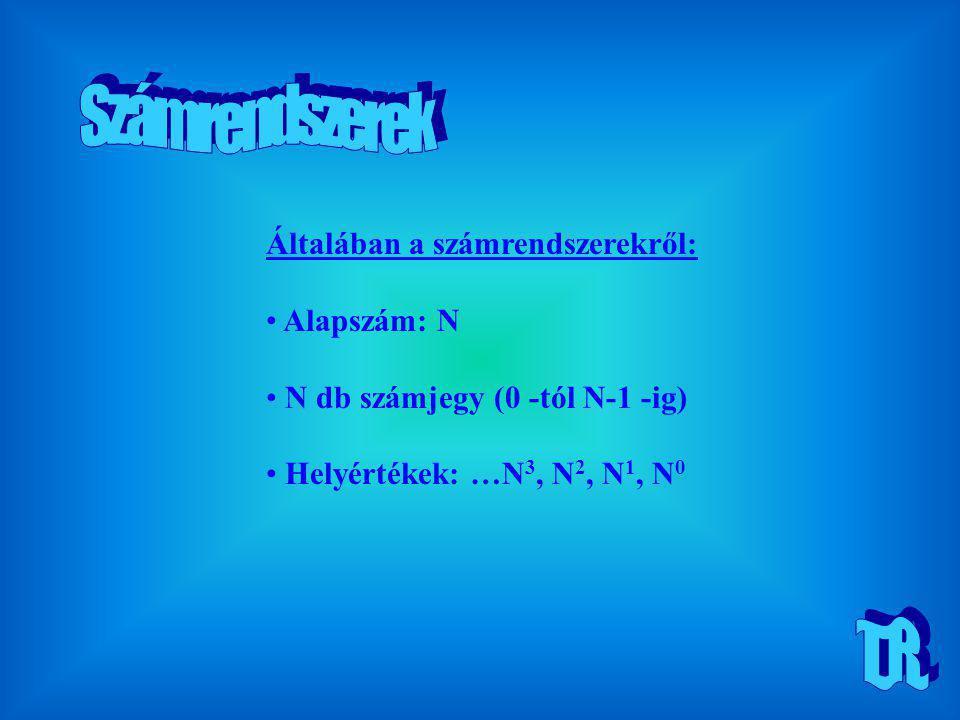 Általában a számrendszerekről: Alapszám: N N db számjegy (0 -tól N-1 -ig) Helyértékek: …N 3, N 2, N 1, N 0