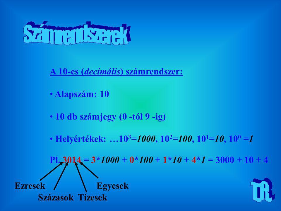 A 2-es (bináris) számrendszer: Alapszám: 2 2 db számjegy (0, 1) Helyértékek: …2 3 =8, 2 2 =4, 2 1 =2, 2 0 =1 Egyesek KettesekNégyesek Nyolcasok Pl.