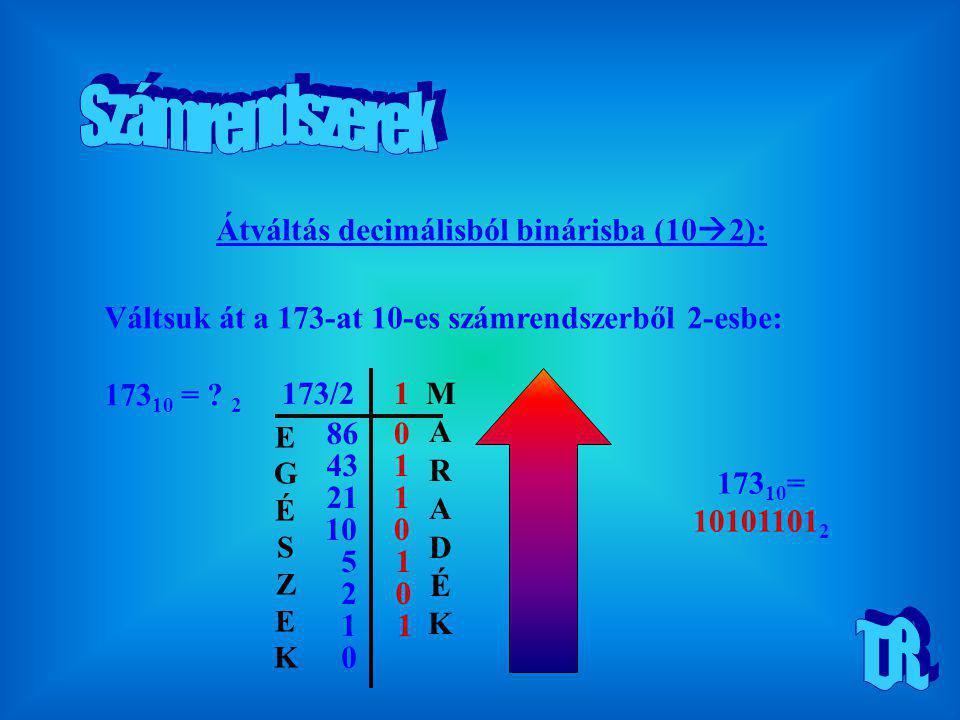 Átváltás decimálisból binárisba (10  2): Váltsuk át a 173-at 10-es számrendszerből 2-esbe: 173 10 = ? 2 173/21 860 431 211 10 5 2 1 0 1 0 1 0 173 10