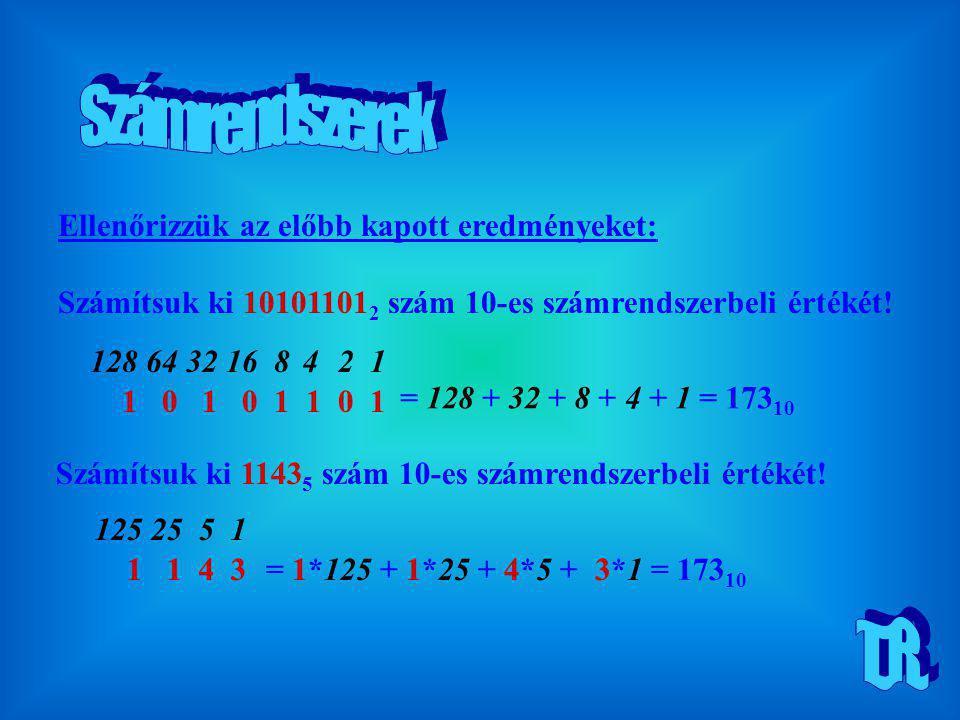 128 Ellenőrizzük az előbb kapott eredményeket: Számítsuk ki 10101101 2 szám 10-es számrendszerbeli értékét! 1 0 1 0 1 1 0 1 6432168421 = 128 + 32 + 8