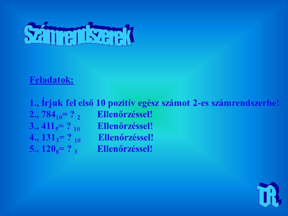 Feladatok: 1., Írjuk fel első 10 pozitív egész számot 2-es számrendszerbe! 2., 784 10 = ? 2 Ellenőrzéssel! 3., 411 5 = ? 10 Ellenőrzéssel! 4., 131 3 =