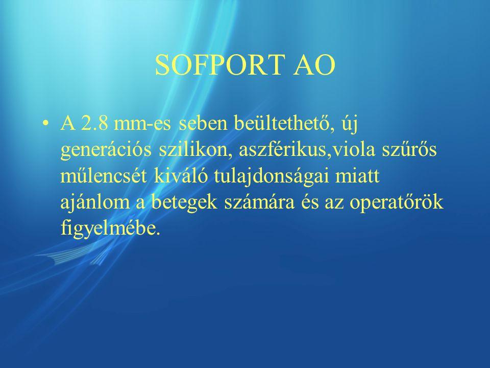 SOFPORT AO A 2.8 mm-es seben beültethető, új generációs szilikon, aszférikus,viola szűrős műlencsét kiváló tulajdonságai miatt ajánlom a betegek számára és az operatőrök figyelmébe.