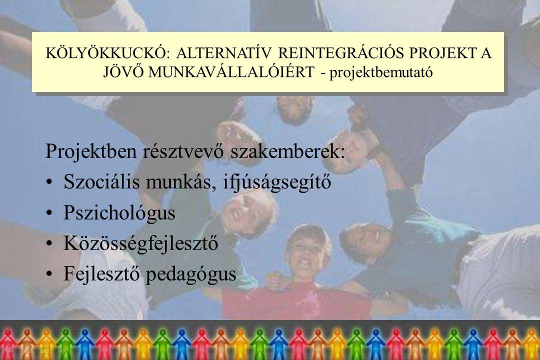 Projektben résztvevő szakemberek: Szociális munkás, ifjúságsegítő Pszichológus Közösségfejlesztő Fejlesztő pedagógus KÖLYÖKKUCKÓ: ALTERNATÍV REINTEGRÁCIÓS PROJEKT A JÖVŐ MUNKAVÁLLALÓIÉRT - projektbemutató