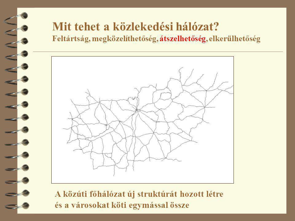 Mit tehet a közlekedési hálózat? Feltártság, megközelíthetőség, átszelhetőség, elkerülhetőség A közúti főhálózat új struktúrát hozott létre és a város