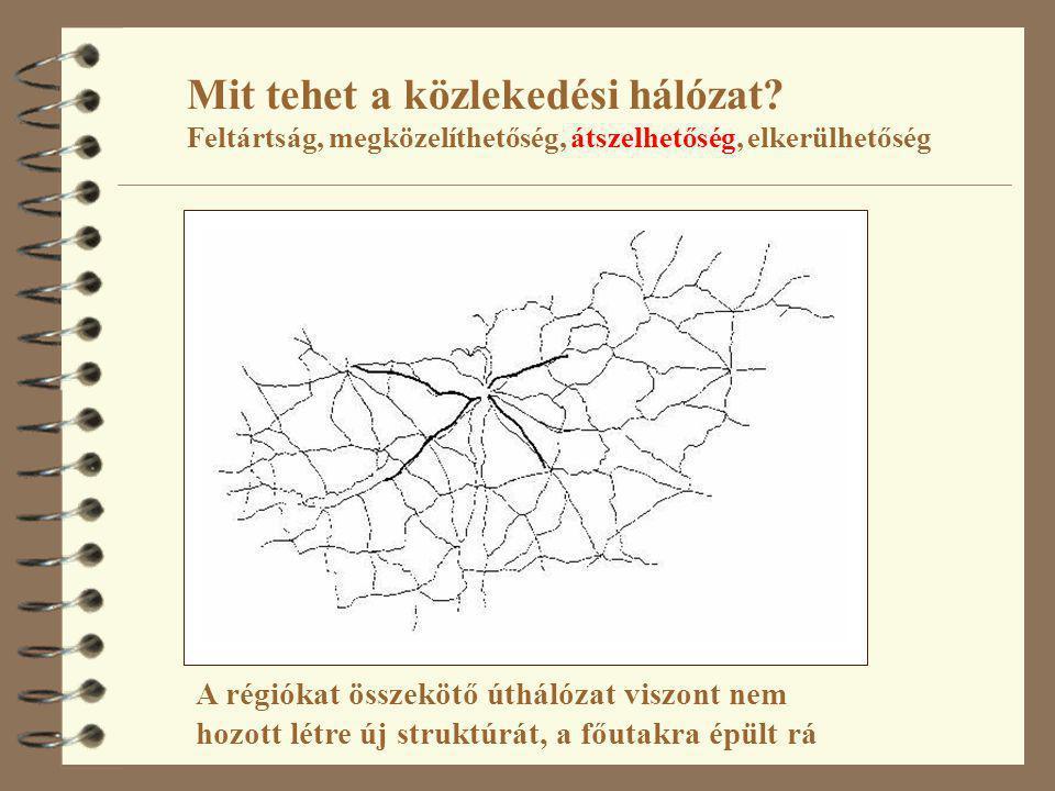Mit tehet a közlekedési hálózat? Feltártság, megközelíthetőség, átszelhetőség, elkerülhetőség A régiókat összekötő úthálózat viszont nem hozott létre