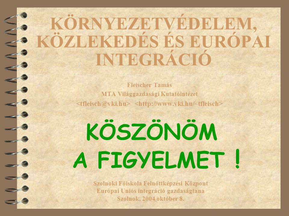 KÖRNYEZETVÉDELEM, KÖZLEKEDÉS ÉS EURÓPAI INTEGRÁCIÓ Fleischer Tamás MTA Világgazdasági Kutatóintézet Szolnoki Főiskola Felnőttképzési Központ Európai Uniós integráció gazdaságtana Szolnok, 2004 október 8.