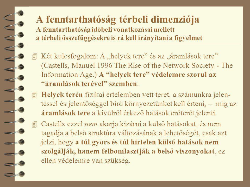 """A fenntarthatóság térbeli dimenziója A fenntarthatóság időbeli vonatkozásai mellett a térbeli összefüggésekre is rá kell irányítani a figyelmet 4 Két kulcsfogalom: A """"helyek tere és az """"áramlások tere (Castells, Manuel 1996 The Rise of the Network Society - The Information Age.) A helyek tere védelemre szorul az áramlások terével szemben."""
