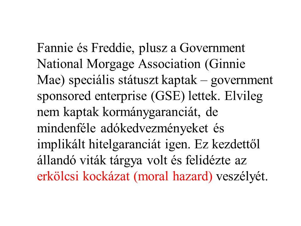 Fannie és Freddie, plusz a Government National Morgage Association (Ginnie Mae) speciális státuszt kaptak – government sponsored enterprise (GSE) lettek.